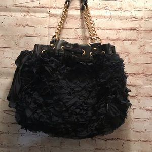 Authentic juicy couture leather / silk corsage bag